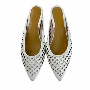 Jaggar The Label Ivory Laser Cut Chic Mules